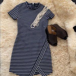 Akira Chicago Black Label Navy White Striped Dress